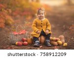cute little girl sitting on... | Shutterstock . vector #758912209