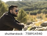 bearded man with sunglasses... | Shutterstock . vector #758914540