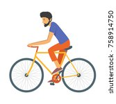 young bearded man ride a sport... | Shutterstock .eps vector #758914750