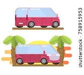 minibus image in flat style   Shutterstock . vector #758915953