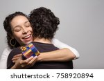 beautiful woman receives... | Shutterstock . vector #758920894