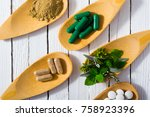herbal leaves  ground herb... | Shutterstock . vector #758923396