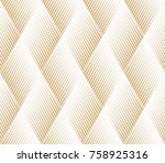 Stock vector abstract geometric pattern with points rhombuses a seamless vector background white and gold 758925316