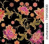 seamless pattern. golden... | Shutterstock . vector #758930830