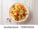 penne pasta with pumpkin ...   Shutterstock . vector #758933026