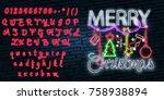 christmas text neon sign. neon...   Shutterstock .eps vector #758938894