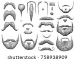beard illustration  drawing ... | Shutterstock .eps vector #758938909