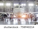 passenger aircraft on... | Shutterstock . vector #758940214