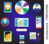 flat vector banner with social... | Shutterstock .eps vector #758943988