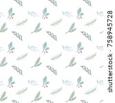 watercolor pattern on white... | Shutterstock . vector #758945728