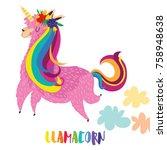 llamacorn   funny cartoon... | Shutterstock .eps vector #758948638