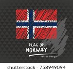 flag of norway  vector chalk...   Shutterstock .eps vector #758949094
