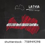 latvia national vector map with ... | Shutterstock .eps vector #758949298