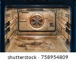 dirty open oven   messy kitchen ... | Shutterstock . vector #758954809