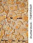 christmas gingerbread cookies...   Shutterstock . vector #758955469