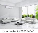 modern bright interior with air ... | Shutterstock . vector #758956360