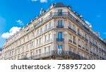 paris  typical facades in the... | Shutterstock . vector #758957200
