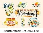 brazilian carnival. big set of... | Shutterstock .eps vector #758963170