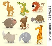 wild animals set  animals of... | Shutterstock .eps vector #75896383