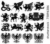 vector set of heraldic animals