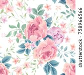 floral seamless pattern. flower ... | Shutterstock .eps vector #758966566