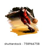 digital painting of a... | Shutterstock . vector #758966758
