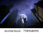New York City Manhattan Skyline, U.S.A. colorful sunset. at night the stars and the moon shine. - stock photo
