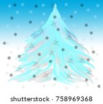 abstract drawing christmas... | Shutterstock . vector #758969368