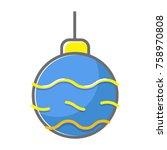 christmass ball  flat line style | Shutterstock .eps vector #758970808