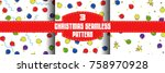 christmas ball seamless... | Shutterstock .eps vector #758970928