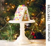 gingerbread house on the... | Shutterstock . vector #758972788