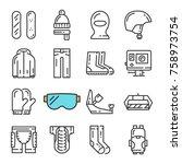 black line snowboarding icons...   Shutterstock . vector #758973754