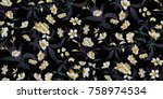 seamless floral pattern in... | Shutterstock .eps vector #758974534