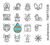 black line christmas and new... | Shutterstock . vector #758975338