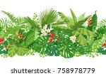 horizontal  floral seamless...   Shutterstock .eps vector #758978779