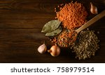 red and green lentils with... | Shutterstock . vector #758979514