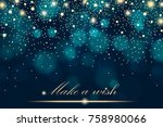 vector gold glitter particles... | Shutterstock .eps vector #758980066