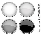 collection of glass buttons... | Shutterstock .eps vector #758980090