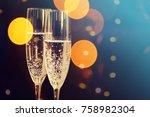 champagne glasses. happy new...   Shutterstock . vector #758982304