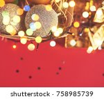 christmas decorations on red... | Shutterstock . vector #758985739
