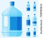 water plastic bottle vector...   Shutterstock .eps vector #758985814