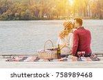 romantic love story. horizontal ... | Shutterstock . vector #758989468