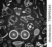 seamless pattern sport doodle... | Shutterstock .eps vector #758990164