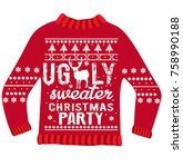 ugly sweater christmas party | Shutterstock .eps vector #758990188