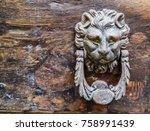 Knocker Lion Shaped On Old...
