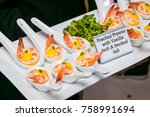 a tray of fresh poached prawns...   Shutterstock . vector #758991694