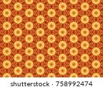 sun flowers pattern from fire | Shutterstock . vector #758992474