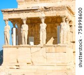 the porch of the caryatids at...   Shutterstock . vector #758998600