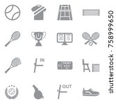 tennis icons. gray flat design. ... | Shutterstock .eps vector #758999650