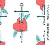 seamless vector pattern sword... | Shutterstock .eps vector #758999713